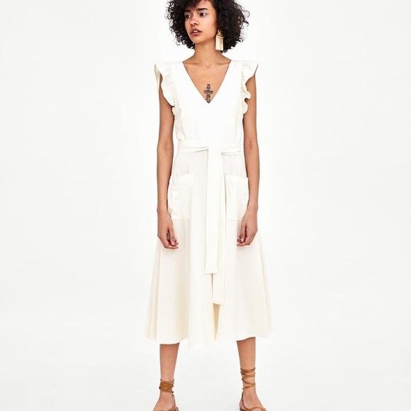 f63a8c737a7 ZARA white linen midi dress. M 5b2e4db6a31c338cf74c94f8